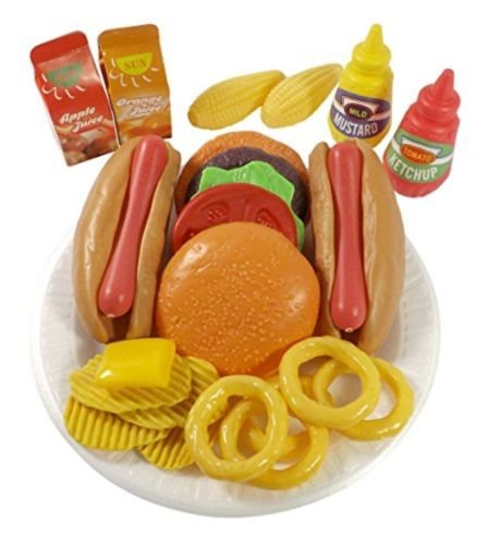AMPERSAND SHOPS Pretend Play Burger & Hot Dog with Condiments Chips Corn and Onion Rings Fast Food Cooking Play Set