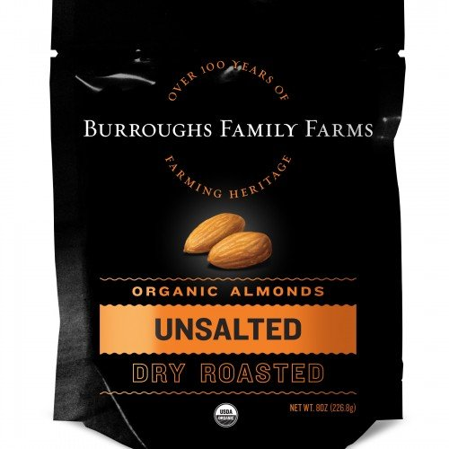 Unsalted Dry Roasted Organic Almonds, 8oz