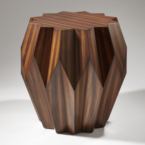 Modern Wood Star Shaped Origami Table   Faceted Drum Mid Century Angles (Faceted Drum)