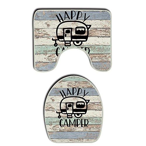 SWEET TANG vintage wooden door happy camper 2 Piece Bath Mat Anti-mite Bathroom Rugs Toilet Mat Set Bathroom Accessories