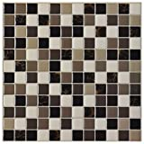 #4: Art3d 6-Pack Backsplash Tile for Kitchen Marble Square Peel and Stick Tile, 12