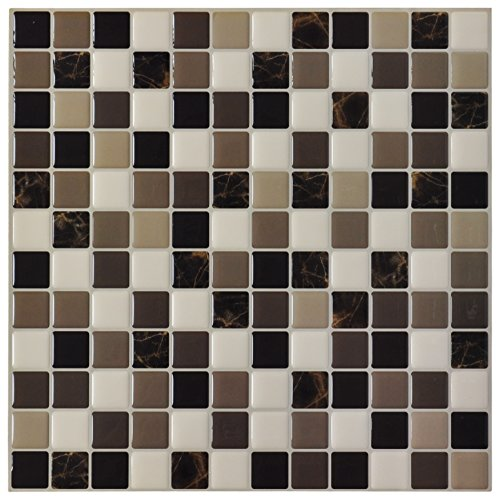Stick And Peel Tiles Ceramic (Art3d 6-Pack Backsplash Tile for Kitchen Marble Square Peel and Stick Tile, 12