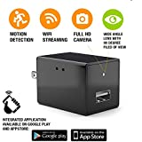 Hidden Spy Camera - Wireless Home Usb Security Camera with Charger - Best Mini Spy Cam Wifi 1080p - Security Spy Camera With Motion Detector - Small Nanny Spy Camera For Women Men Black