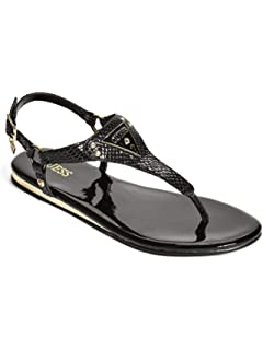 75e385ee1d6d5 Amazon.com | GUESS Factory Women's Coin Stretch-Cord Strappy Sandals ...
