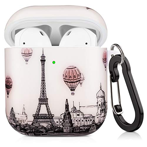 Cutebricase Airpods Case, Vintage Tower Airpod Cases Hard Protective Cover for Apple AirPods 2 & 1 with Keychain Compatible with Wireless Charging (Tower)