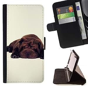 Momo Phone Case / Flip Funda de Cuero Case Cover - Lindo perro de raza blanca Sleepy Cansado - Samsung Galaxy S6