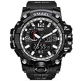 SMAEL Men's Sports Analog Digital Quartz Military Watch Waterproof Multifunctional Large Dial Wrist Watch for Men (Black-Silver)