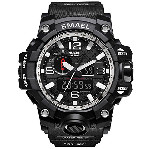 Richermall Mens Sports Analog Quartz Watch Dual Display Waterproof Digital Watches with LED Backlight relogio masculino (Black Sliver)