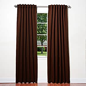 """Best Home Fashion Thermal Insulated Blackout Curtains - Back Tab/ Rod Pocket - Chocolate - 52""""W x 84""""L - (Set of 2 Panels)"""