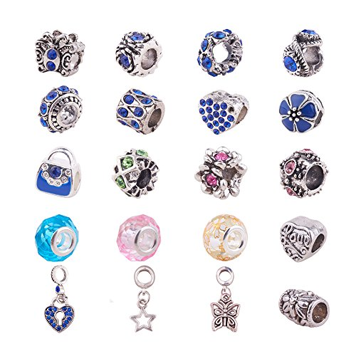 (PandaHall Elite 20 Pcs Murano Glass Beads Rhinestone Spacers Metal European Beads Dangle Pendant Charms Fit Snake Style Charm Bracelet Mixed)