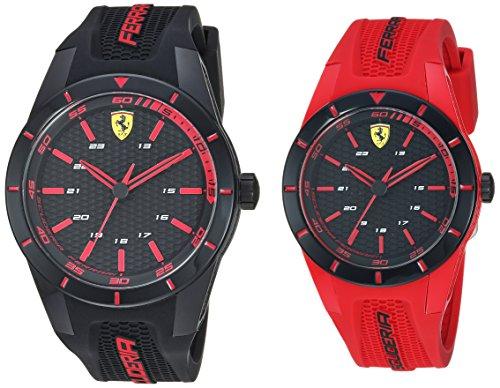 Ferrari Men's 'Red Rev' Quartz Plastic and Silicone Watch, Color:red (Model: 0870019)