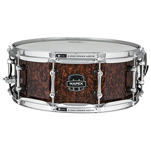 MAPEX ARML4550KCWT Armory 14 x 5.5 Inches The Dillinger Snare Drum with Chrome Hardware, Walnut Stain