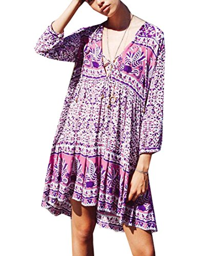 Mini Half Summer Beach 1 Dress Floral Jaycargogo Print Women Sleeve 6YcwUq