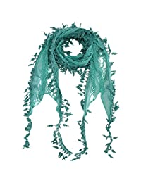 Luxury Divas Sea foam Green Beautiful Lace Scarf With Leaf Shaped Fringe