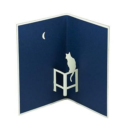 Favour Pop Up - Tarjeta de - Gato bajo la luna diseño elegante ...