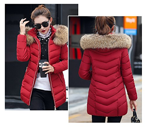 Hooded Winter Trimmed Padded Puffer Long BBWAY Coat Womens Ladies red Parka Jacket wine Fur ItSxqITz