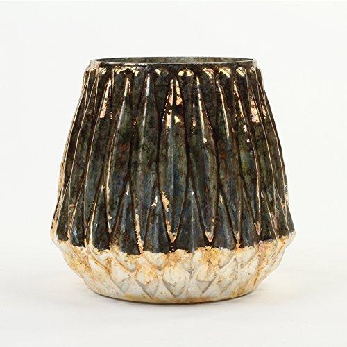 Koyal Wholesale Modern Candle Holder, Burnt Gold, Ribbed Vase Decorative Flower Vase
