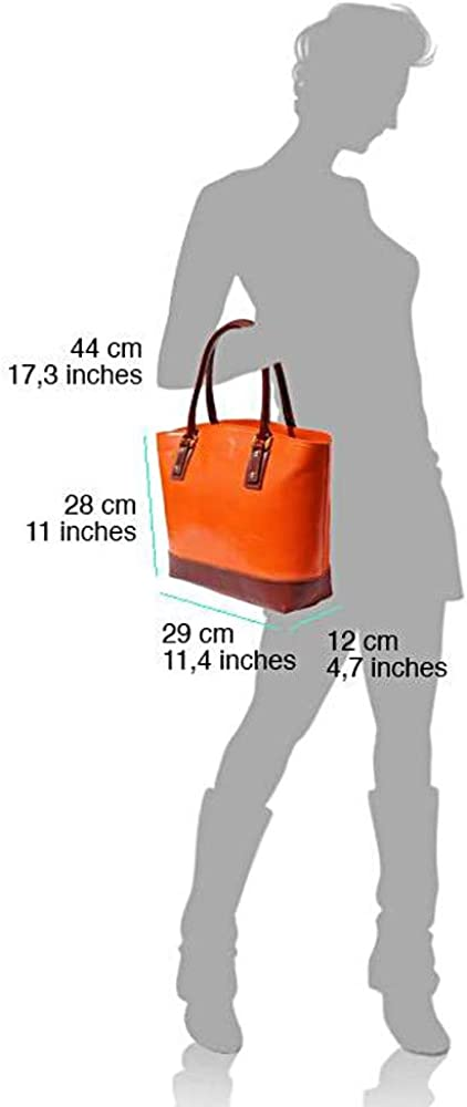 FLORENCE LEATHER MARKET Borsa donna a mano e a spalla in vera pelle 29x12x28 cm - Tote - Made in Italy Arancione/Marrone