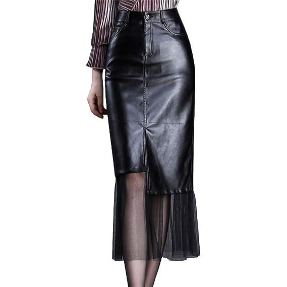 DISSA SK6356 - Falda de Piel sintética para Mujer: Amazon.es: Ropa ...