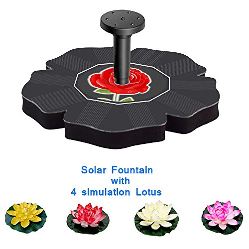 Dugoo Solar Fountain Power Pump,Rose Bird Bath Fountain Pump Decorative Pond For Garden And Patio Watering With 4 Flower Simulation Lotus