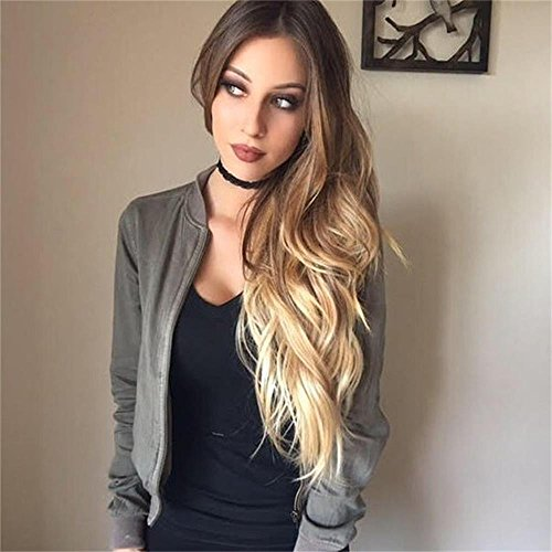AISI HAIR Long Wavy Synthetic Wig Ombre Blond Wigs for Women Dark Root Mixed Color Hair Heat Resistant Natural Wig by AISI HAIR