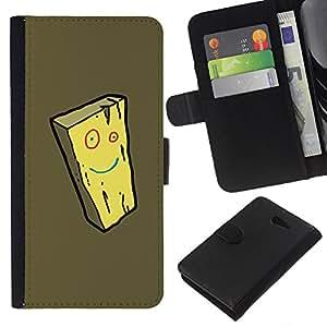 All Phone Most Case / Oferta Especial Cáscara Funda de cuero Monedero Cubierta de proteccion Caso / Wallet Case for Sony Xperia M2 // Cheese Smiley Yellow Face Sponge Cartoon