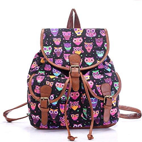 Vintage Floral Ladies Canvas Bag School Bag Backpack - 6