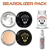 Beardilizer ® Value Pack: Dietary Supplement 90 Caps + Beard Growth Spray 4 Oz + Beard Growth Conditioner And Softener Cream 4 oz + All Natural Beard Wax 4 oz