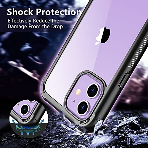 SPIDERCASE for iPhone 12 Case iPhone 12 Pro Case, with Built-in Screen Protector Full Heavy Duty Protection Shockproof Anti-Scratched Rugged Case for iPhone 12/12 pro 6.1 inch (Black/Clear)