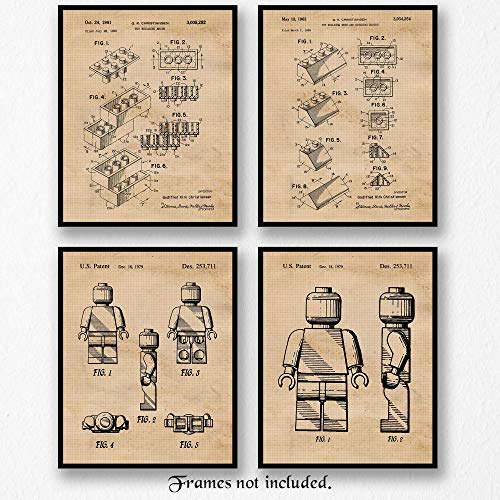 Original Lego Patent Art Poster Prints - Set of 4 (Four Photos) 8x10 Unframed - Great Wall Art Decor Gifts Under $20 for Home, Office, Garage, Man Cave, School, Game Room Signs, Builder, Movies Fan -