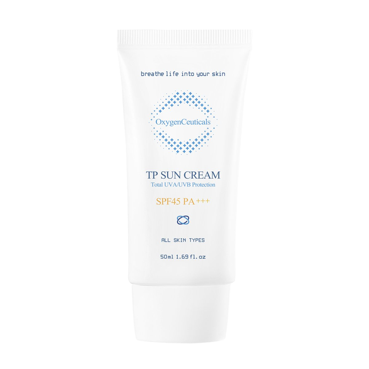 OxygenCeuticals TP Sun Cream SPF 45 Daily Moisturizer with Sunscreen for All Skin Types, Broad-spectrum UVA and UVB protection, 1.69 oz