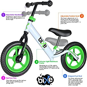 Fox Air Beds (4 LBS) Balance Bike for Kids and Toddlers - ALUMINUM Light Weight No Pedals Push and Stride Walking Bicycle (Green)