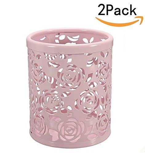 Pink Rose Pattern (CTKcom 2-pack Hollow Rose Flower Pattern Metal Pen Pencil Pot Cup Holder Desk Container Organizer,2 pieces,Pink)
