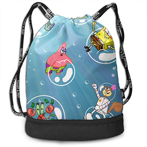 PSnsnX Backpack Spongebob Bubbles Sports Gym Cinch Sack Bag For Gym Traveling Sackpack Dance Bag ()