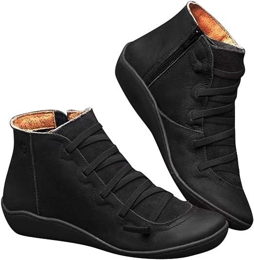 YONEER Botines de Cuero Otoño Vintage con Cordones Zapatos de Mujer Botas cómodas de tacón Plano Cremallera Bota Corta