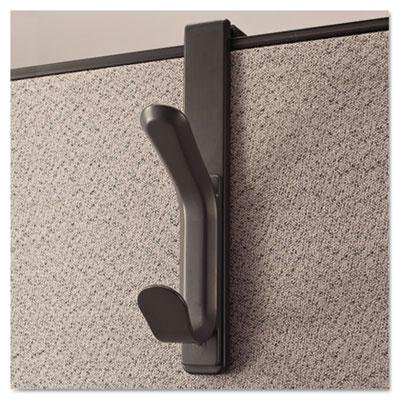 "Universal One - 4 Pack - Recycled Cubicle Double Coat Hook Plastic Charcoal ""Product Category: Desk Accessories & Workspace Organizers/Wall & Panel Organizers"""