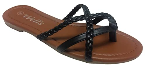 9cc36165e Elegant Womens Fashion Braided Criss Cross Strappy Black Flip Flop Flat Sandals  Black 6