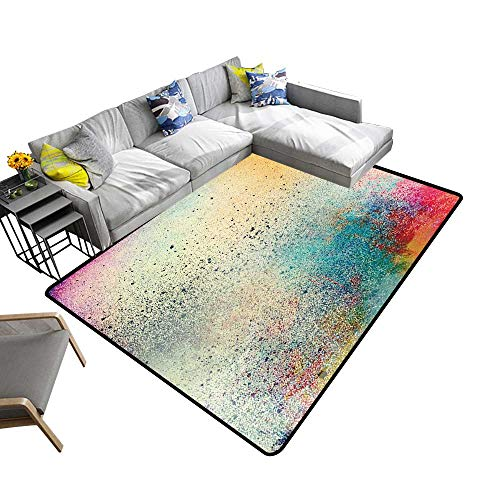 Abstract Design Area Rug Grunge Splatter Paint Colorful Background Add Fashion to Room's Decor 5' X 7'