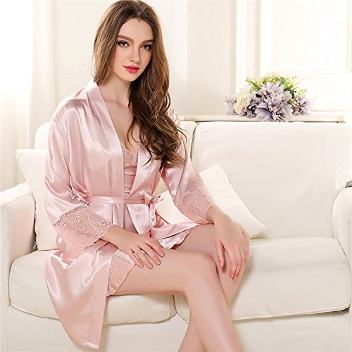 Spring Gift couples summer woman in spring and autumn, Ms. thin nightdress straps bathrobe summer silk long-sleeved homewear two ,l,cameo (Silk Cameo)