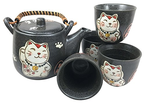 Japanese Design Maneki Neko Lucky Cat Black Ceramic Tea Pot
