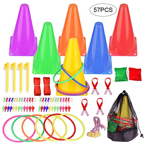 Faburo 3 in 1 Carnival Combo Games Set, Sports Party Games Set Plastic Cone Cornhole Bean Bags Ring Toss Game Three-Legged Race for Kids Carnival Birthday Indoor Outdoor Party Game Supplies, 57-Pack