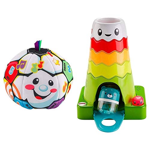 Fisher-Price Laugh & Learn Singin Soccer Ball Bundled Stack & Slide Magic Mountain