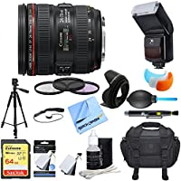 Canon (6313B002) EF 24-70mm F/4L IS USM Standard Zoom Lens Ultimate Accessory Bundle includes Lens, 64GB Extreme SD Memory Card, Tripod, 77mm Filter Kit, Lens Hood, Bag, Cleaning Kit & More