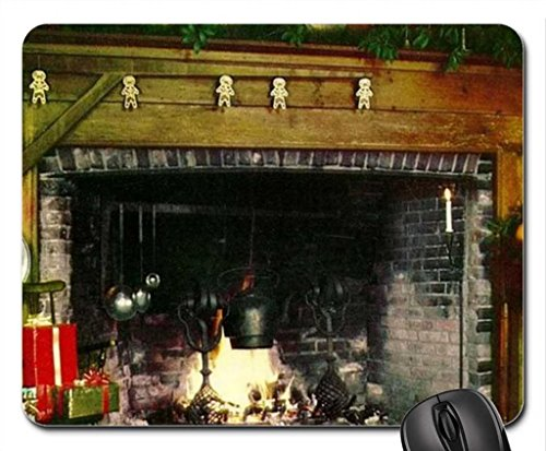Old Christmas Fireplace Mouse Pad, Mousepad (Houses Mouse Pad)