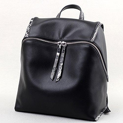 Sprnb al hombro, bolsa de cuero de damas, capacidad Pack,negro Black