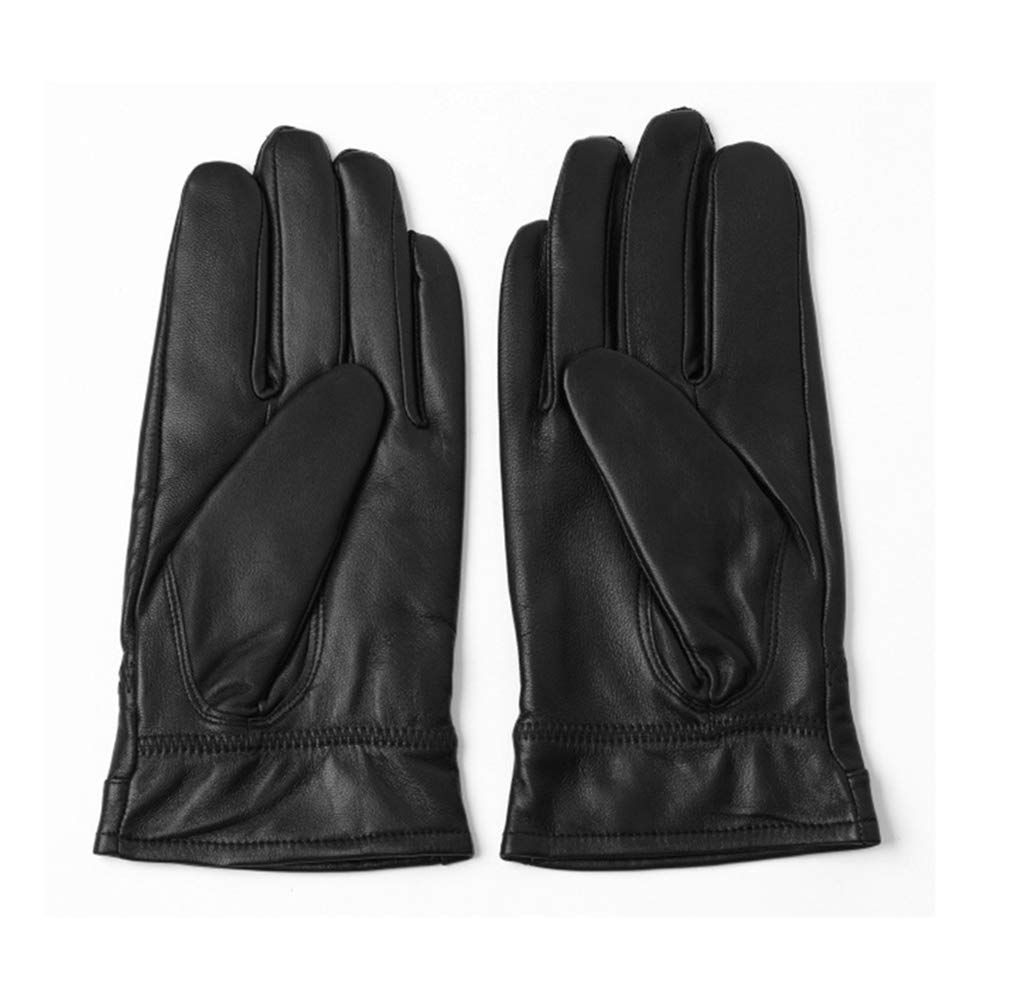 Men's Winter Gloves Warm Lined Genuine Leather Driving Motorcycle Gloves (Tag XXL= Ca XL, Black)