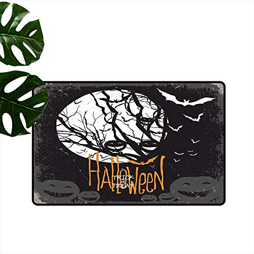 Vintage Halloween,Door mat Halloween Themed Image with Full Moon and Jack o Lanterns on a Tree Home Decoration Door Mat W 24