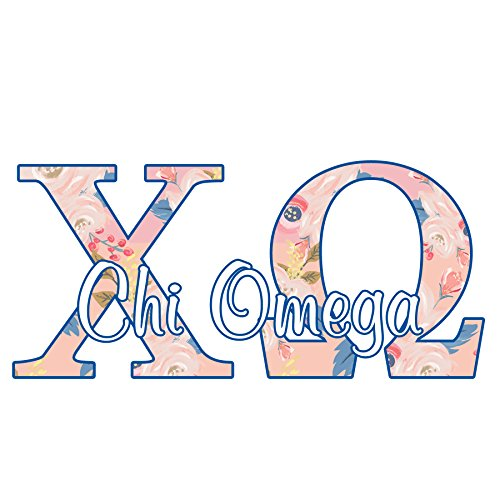 Chi Omega sorority decal - 5 inch wide sticker - Floral letters in pink (Bumper Omega)