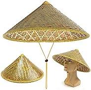 Kifdiifgoso Chinese Oriental Coolie Bamboo Woven Sun Rain Hat Farmer Fishing Rice Hat