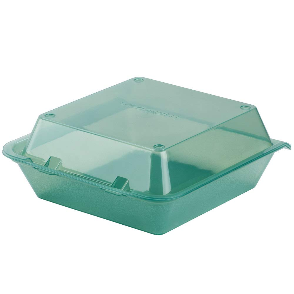 Eco-Takeouts, BPA Free, Green Reusable Plastic to-Go Boxes, Single Entrée, 9''x9'', Break Resistant, Dishwasher & Microwave Safe, by GET EC-02-1-JA-EC (Pack of 4)
